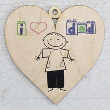 Printed 9.5cm Wood Heart cut from 3mm Ply Dad Daddy Fathers Day Gift - Sketch
